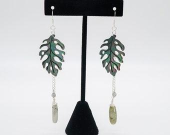 Monstera Leaf Sterling Silver Drop Earrings, Black Lip Oyster Mother of Pearl Earrings, Labradorite Earrings, Boho Tropical Jewelry for Her