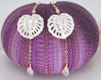 Monstera Leaf Rose Gold & Gold Plated Drop Earrings w/ gemstone, Mother of Pearl Earrings, Moonstone Earrings, Boho Tropical Jewelry for Her