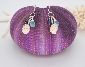 Sea Shell and Gemstone cluster dangle earrings, Sterling Silver Boho Chic earrings, Tropical Ocean accessory, Aloha attire, Resort wear