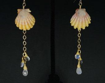 Yellow & Pink Sunrise Shell Earrings, Hawaiian Shell Jewelry, Sunrise Shell Jewelry, Aloha Summer Attire, Bohemian Shell Jewelry for Her