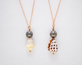Cone shell pendant, Hawaiian Seashell Jewelry, Tahitian Pearl Island Style Ocean Decor, Bohemian Style Silver Jewelry, Pearl Necklace