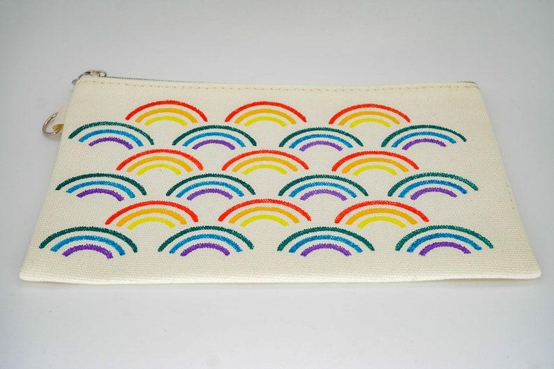 Rainbow Canvas Bag Rainbow Lover Cosmetic Bag Rainbow Bag image 0