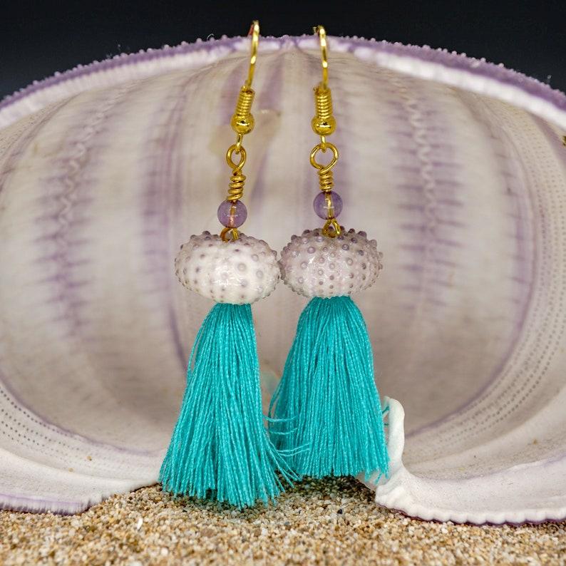 Sea Urchin Earrings Tropical Beach Dangle Earrings Turquoise Purple Amethyst Bead