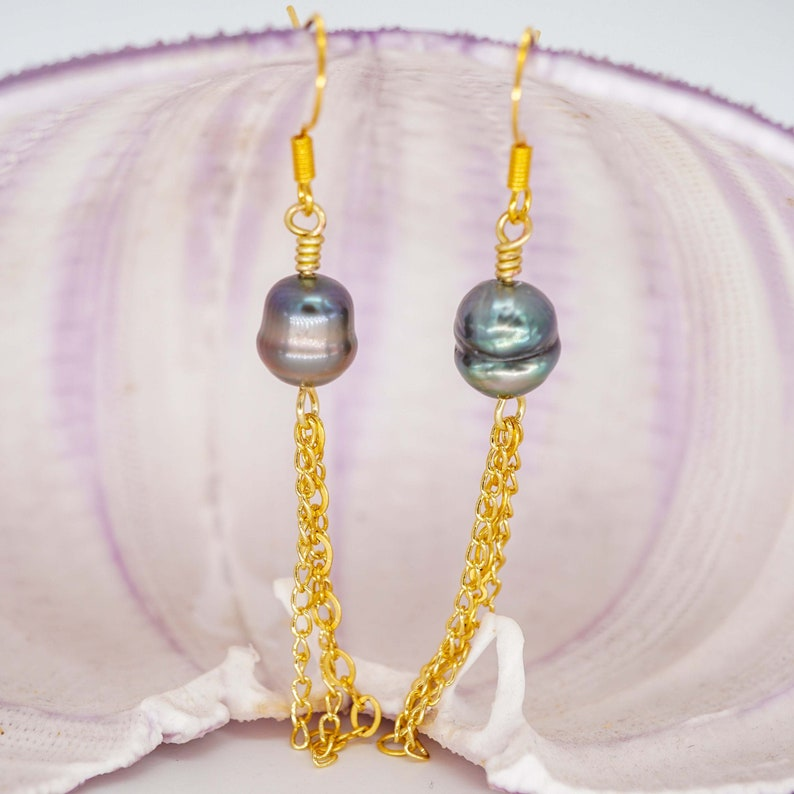 Baroque Tahitian Pearl Dangle Earrings with 10 Karat Gold image 0