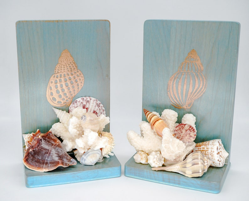 Book Lover Gift Tropical Seashell Bookends Beach Lovers Gift image 0