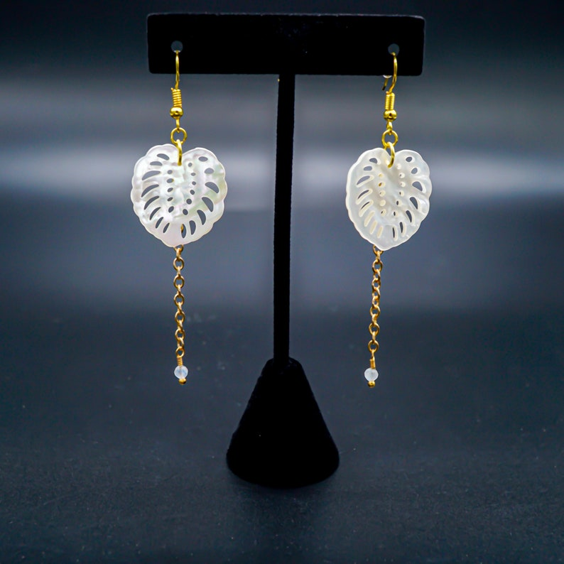 Monstera Leaf 22 Karat Gold Plated Drop Earrings Mother of image 0