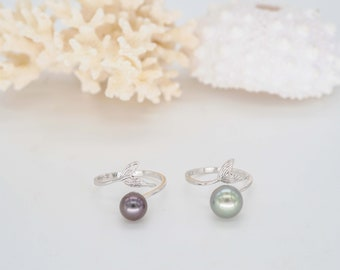 Sterling Silver Tahitian Pearl Ring, Whale Tale Ocean Decor Beach Jewelry, Beach Lovers Ocean Ring, Silver Jewelry for Her, Tropical Ring