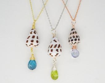 Mini Hawaiian Hebrew Cone Shell with Gemstones on adjustable necklace chain, Ocean seashell necklace, Bohemian minimalist layering necklace