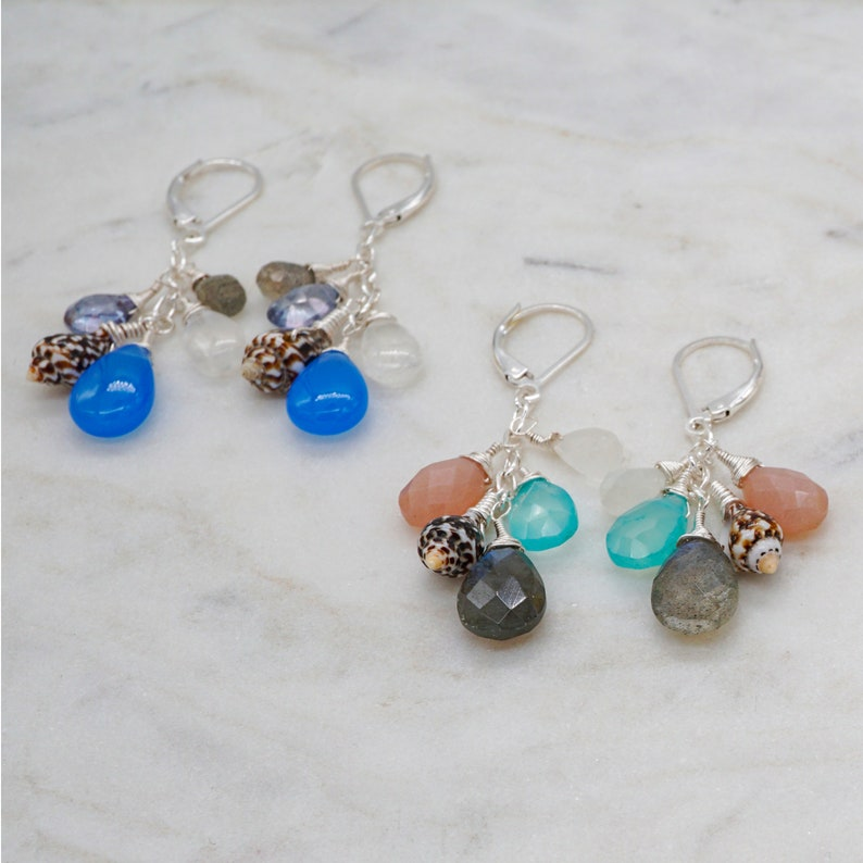 Shell Dangle Earrings Gemstone dangle earrings Hawaiian image 0