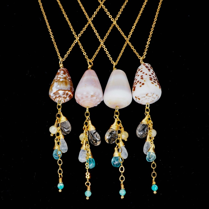 Hawaiian Cone Shell & Gemstone Necklace Beach Inspired Boho image 0