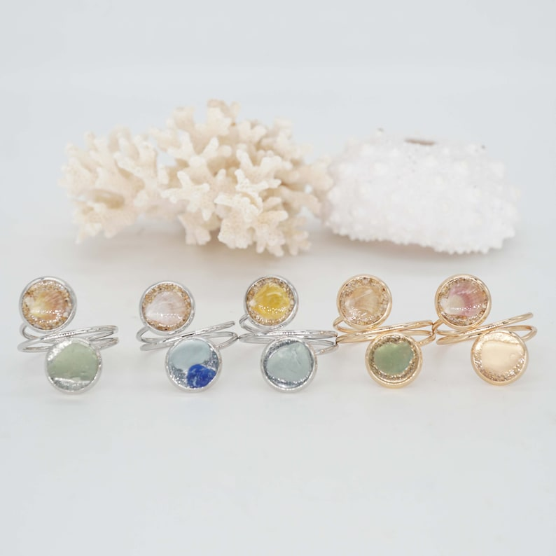 Sea Glass Seashell Ring Adjustable Wrap Beach Ring Scallop image 0