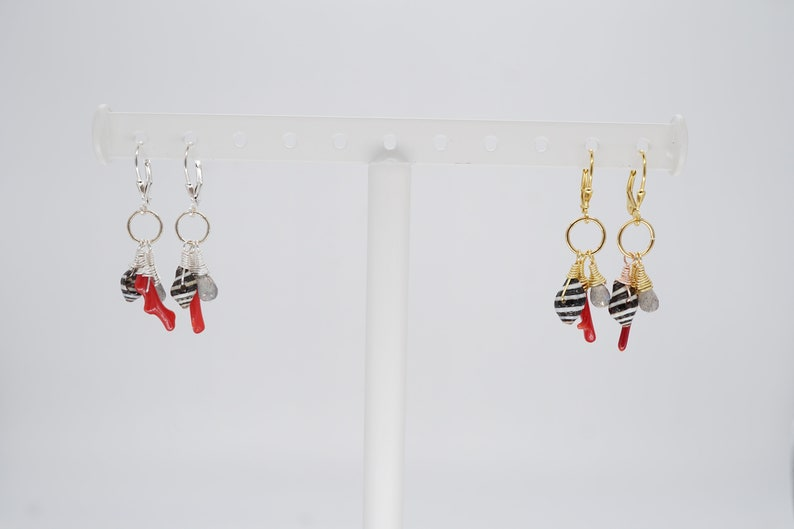 Beach Inspired Sterling Silver or Gold shell coral gemstone image 0
