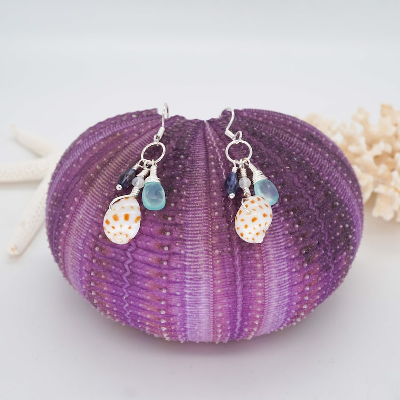 Sea Shell and Gemstone cluster dangle earrings Sterling image 0