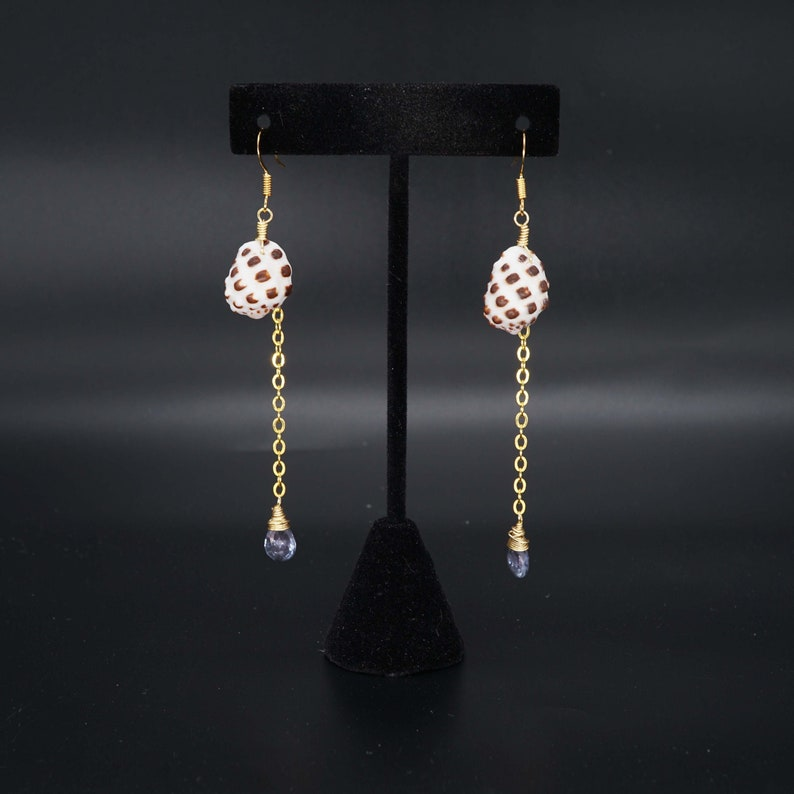 Hawaiian Drupe shell earrings with Tanzanite Gemstone faceted image 0