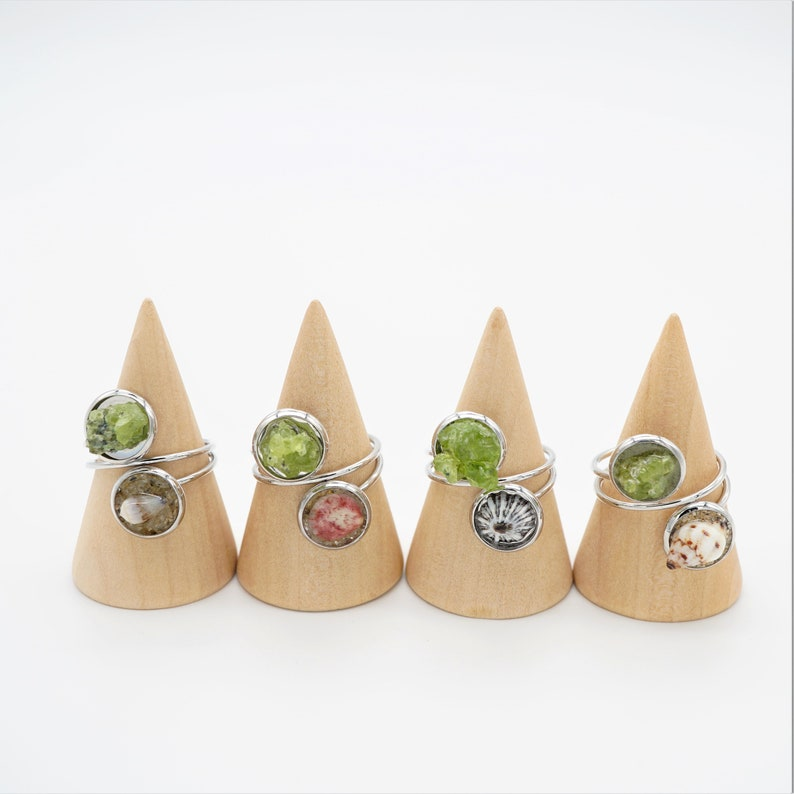 Silver Shell and Olivine Adjustable Ring image 0