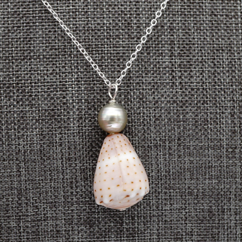 Cone Shell Necklace with Tahitian Pearl Silver Plated 24in image 0