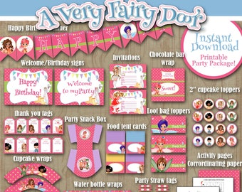 Printable Birthday Party Package, A Very Fairy Door, Celebrate, Birthday decor, Digital