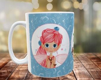 Fairy Mug, Custom 11oz mug, Birthday, Gift, Present. Choose your fairy, Fairy Door, Memories, Keepsake