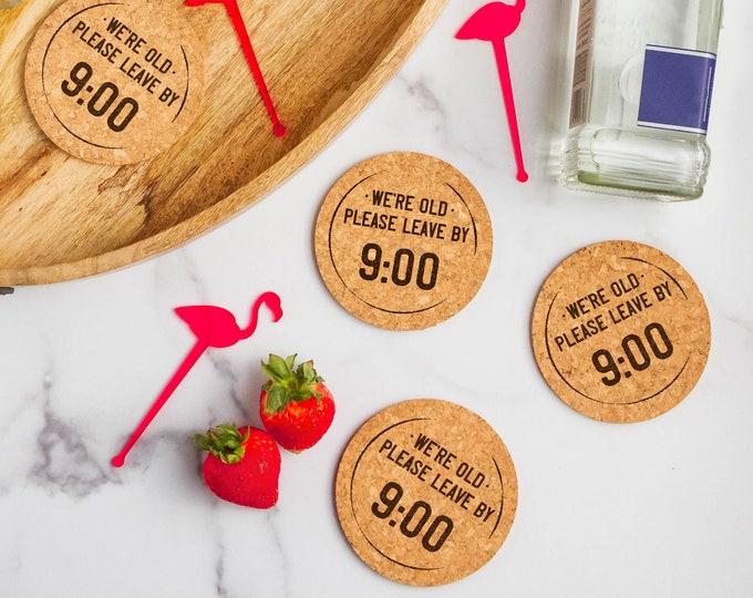 Leave By Nine Cork Coasters | Cork Coaster Set | Bar Coasters | Laser Engraved | Housewarming Gift | Laser Engraved Coaster Set
