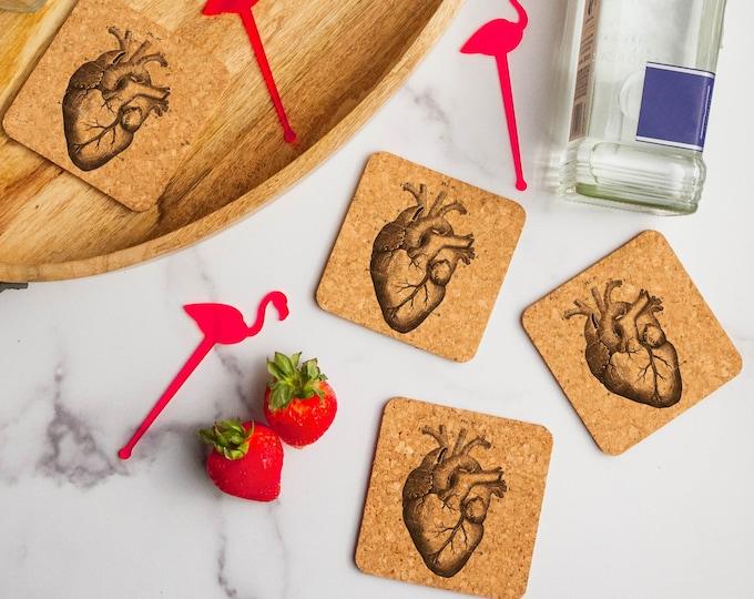 Anatomical Heart Cork Coasters   Cork Coaster Set   Bar Coasters   Laser Engraved   Housewarming Gift