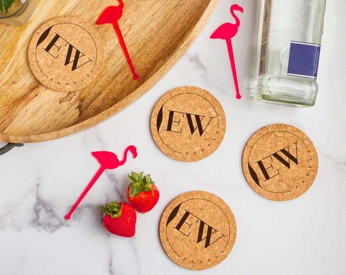 Ew People Cork Coasters | Cork Coaster Set | Bar Coasters | Laser Engraved | Housewarming Gift | Laser Engraved Coaster Set | Round Coaster