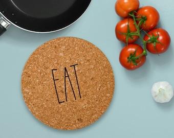 EAT Trivet   Cork Trivet   Laser Engraved Trivet   Kitchen Decor   Cooking Tools   Cookware   Gift Idea   Pot Holder