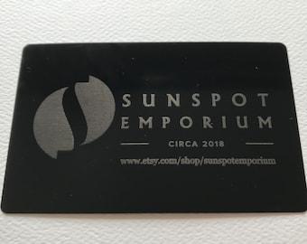 Metal business cards etsy engraved black aluminum metal business cards reheart Image collections