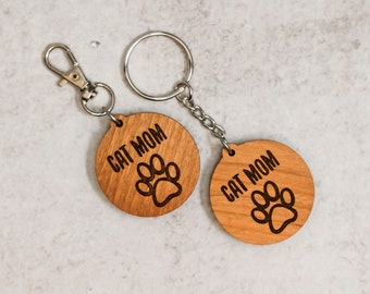 Cat Mom Wooden Keychain   Charity Listing   Donation Listing   Cat Mom Keychain   Wooden Keychain   Laser Cut Keychain