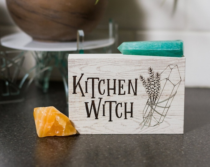 Kitchen Witch | Witchy Gifts | Freestanding Desk Sign | Laser Engraved | Home Decor | Trendy Office Decor | Cottagecore | Witchy Wall Sign