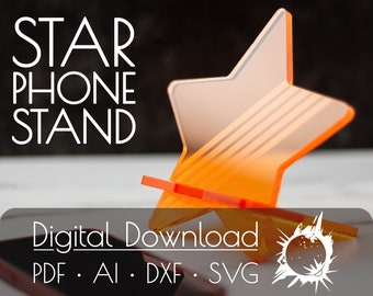 Star Phone Stand   Commercial License   Digital Download   Glowforge Cut File   Laser Cut File   Laser Cut Template   Glowforge Project