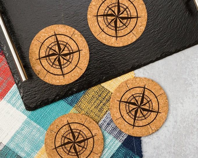 Compass Rose Cork Coasters   Cork Coaster Set   Bar Coasters   Laser Engraved   Housewarming Gift