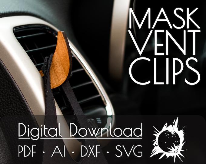 Car Vent Mask Clip | Commercial License | Digital Download | Glowforge Cut File | Laser Cut File | Laser Cut Template | Glowforge Project