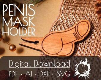 Penis Mask Clip   Commercial License   Digital Download   Glowforge Cut File   Laser Cut File   Laser Cut Template   Glowforge Project