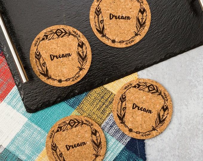 Dream Cork Coasters   Cork Coaster Set   Bar Coasters   Laser Engraved   Housewarming Gift
