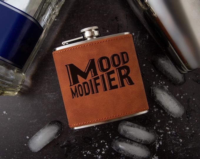 Mood Modifier Flask | Novelty Flask | Funny Flask  | Faux Leather Flask | Vegan Leather Flask | Leather Flask