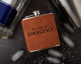 In Case of Emergency Flask   Novelty Flask   Funny Flask   Faux Leather Flask   Vegan Leather Flask   Special Occasion Gift   Leather Flask