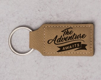 The Adventure Awaits Faux Leather Keychain