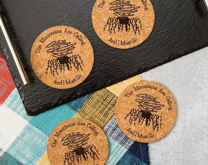 Mountains Are Calling Cork Coasters   Cork Coaster Set   Bar Coasters   Laser Engraved   Housewarming Gift