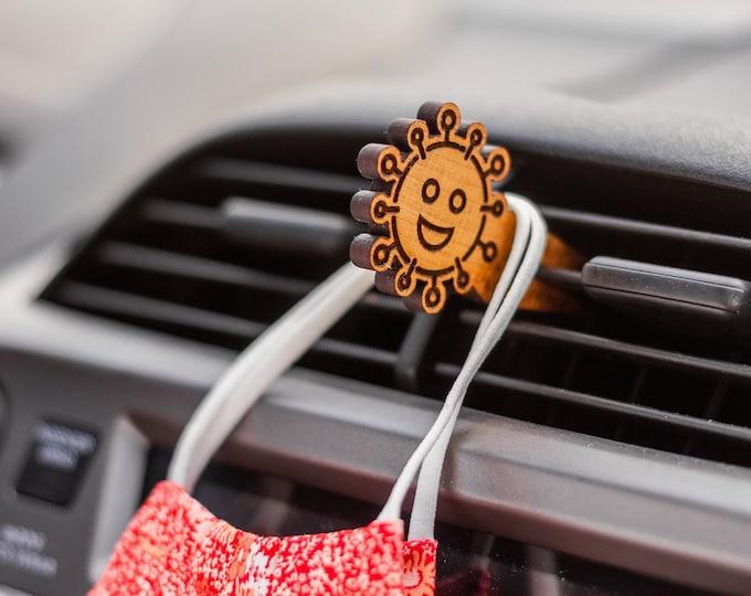 Happy Virus Mask Clip | Car Organization | Face Mask Hanger | Face Mask Organization | Laser Cut | Car Mask Hanger | Mask Accessories