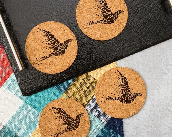 Flying Dove Cork Coasters   Cork Coaster Set   Bar Coasters   Laser Engraved   Housewarming Gift