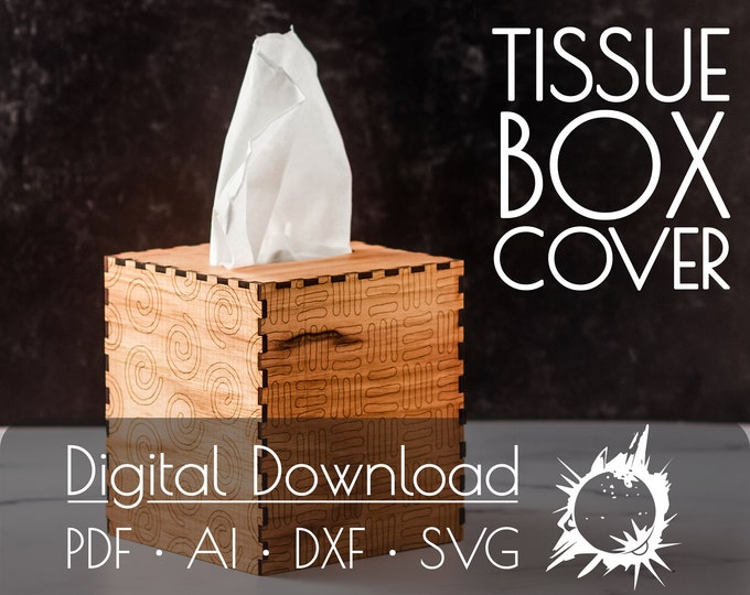 Tissue Box Cover | Commercial License | Digital Download | Glowforge Cut File | Laser Cut File | Laser Cut Template | Glowforge Project