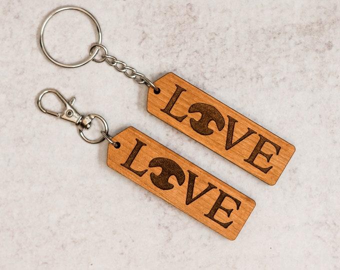 Wooden Love Keychain | Charity Listing | Donation Listing | Dog Nose Keychain | Wooden Keychain | Laser Cut Keychain