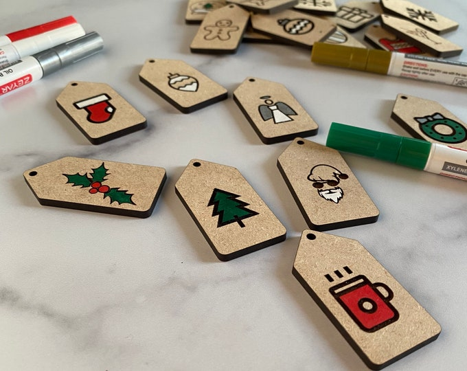 Christmas Gift Tags Pattern | Commercial License | Digital Download | Glowforge Cut File | Laser Cut Template | Glowforge Project