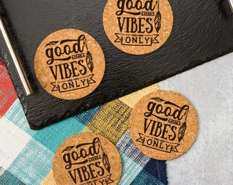 Good Vibes Only Coasters   Cork Coaster Set   Bar Coasters   Laser Engraved   Housewarming Gift
