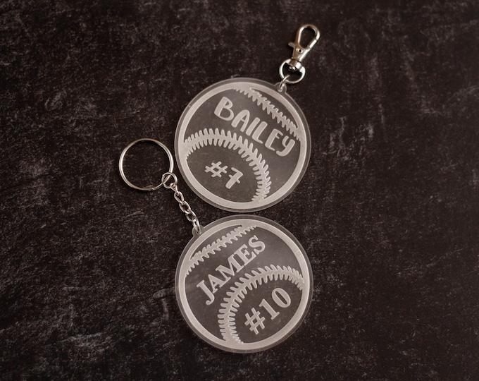 Personalized Baseball Keychain | Laser Cut Keychain | Laser Engraved Keychain | Softball Keychain | Personalized Keychain