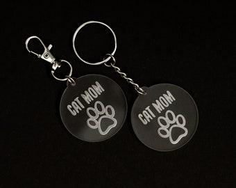 Cat Mom Acrylic Keychain   Charity Listing   Donation Listing   Cat Mom Keychain   Acrylic Keychain   Laser Cut Keychain