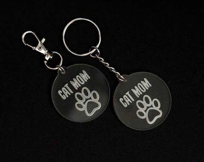 Cat Mom Acrylic Keychain | Charity Listing | Donation Listing | Cat Mom Keychain | Acrylic Keychain | Laser Cut Keychain