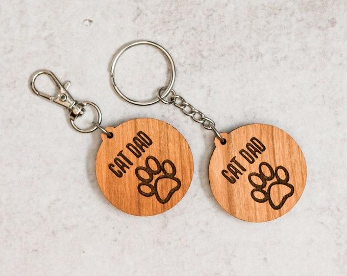 Cat Dad Wooden Keychain | Charity Listing | Donation Listing | Cat Dad Keychain | Wooden Keychain | Laser Cut Keychain