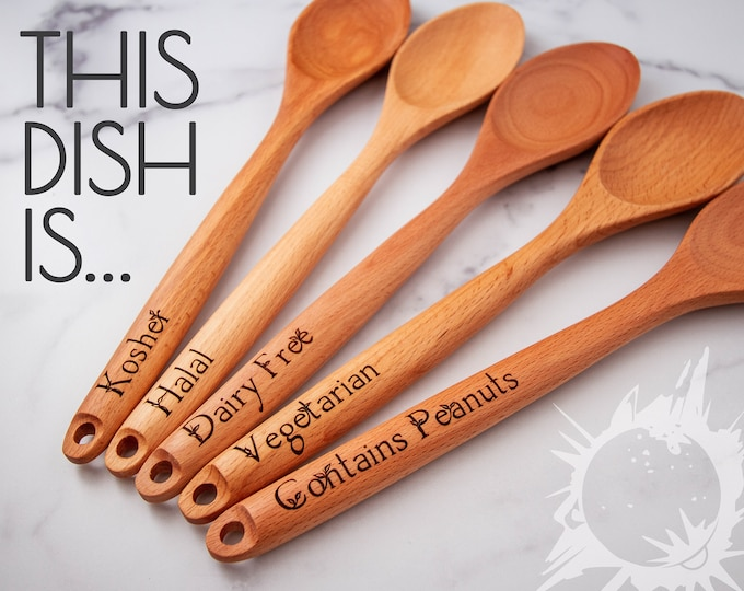 Potluck Serving Spoons | Custom Wooden Spoon | Laser Engraved Wooden Spoon | Kitchen Utensils | Kitchen Decor | Engraved Serving Spoons