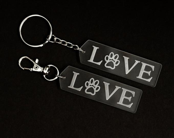 Acrylic Love Keychain | Charity Listing | Donation Listing | Dog Paw Keychain | Acrylic Keychain | Laser Cut Keychain